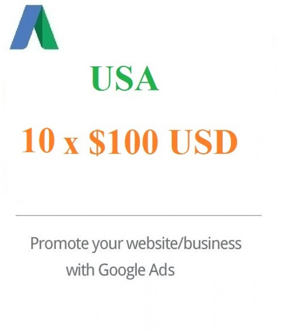 10 x 100 USD Google Ads Voucher for USA